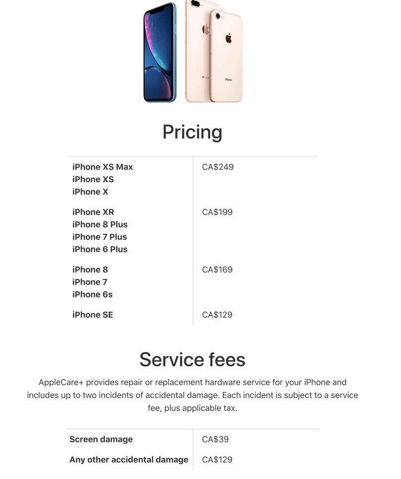 Applecare Pricing