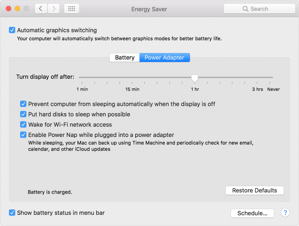 Macos Sierra Mbp System Preferences Energy Saver Automatic Graphic Switching